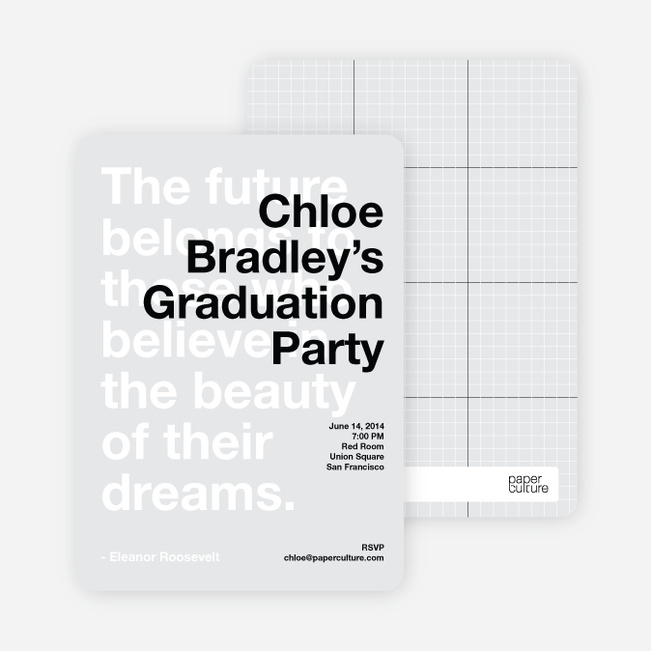 Graduation Quote Invitations - Black