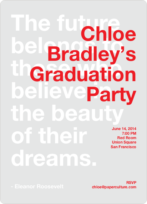 Graduation Quote Invitations - Candy Apple Red
