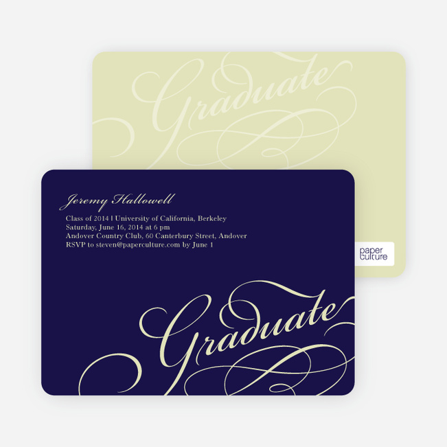 Graduation Script Invitations - Navy