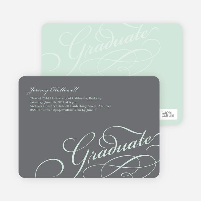 Graduation Script Invitations - Grad Gray