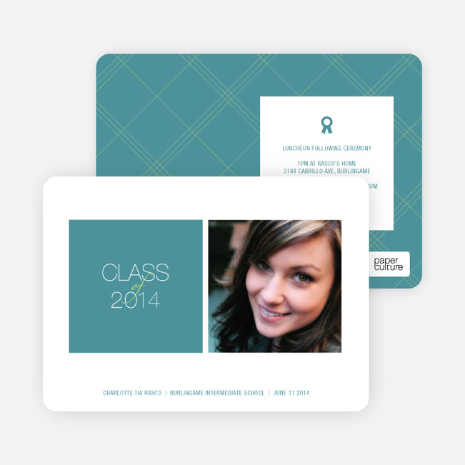Graduation Squares Invitations - Teal Tat