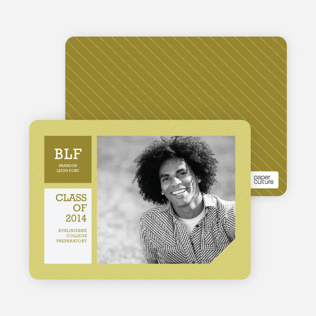 Graduation Stripes Graduation Announcements - Lemongrass