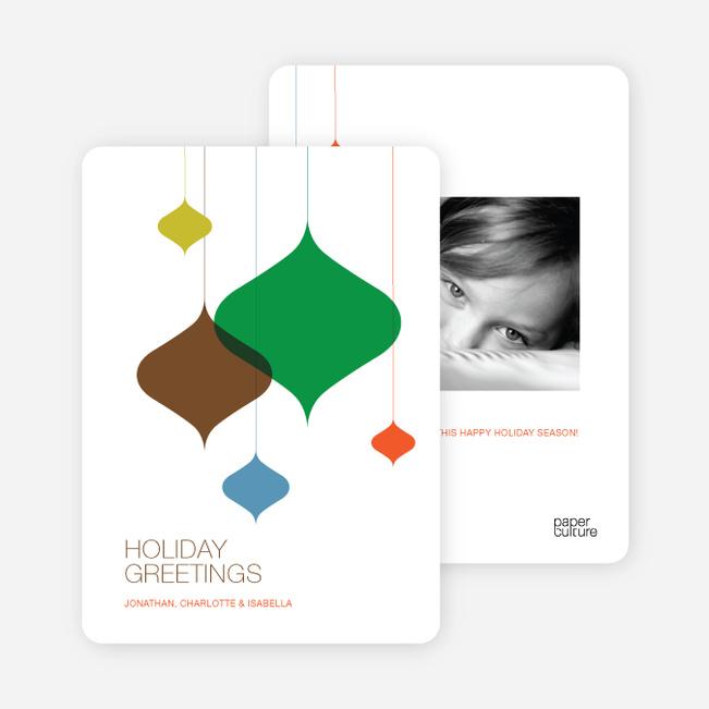 Hanging Ornaments Christmas Photo Card - Chocolate