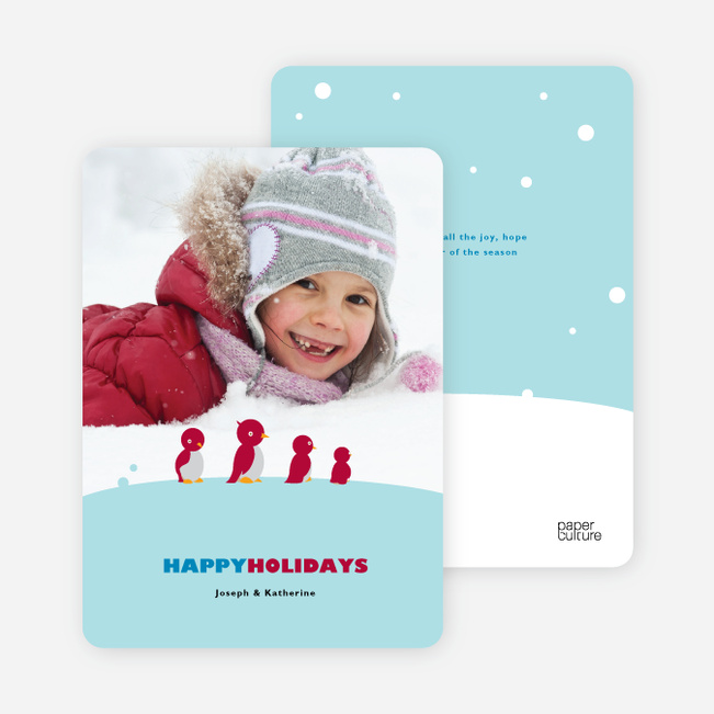 Happy Holiday Cards: Penguin Feet - Cornflower Blue