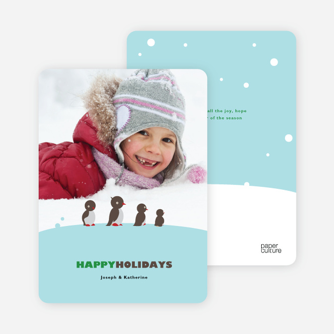 Happy Holiday Cards: Penguin Feet - Sage Green