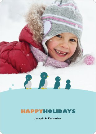 Happy Holidays Penguin Feet Cards - Burnt Orange