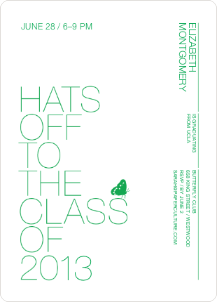 Hats Off Graduation Announcement and Invitation - Apple Green