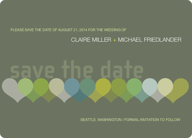 Heart Interplay Save the Date Cards - Khaki