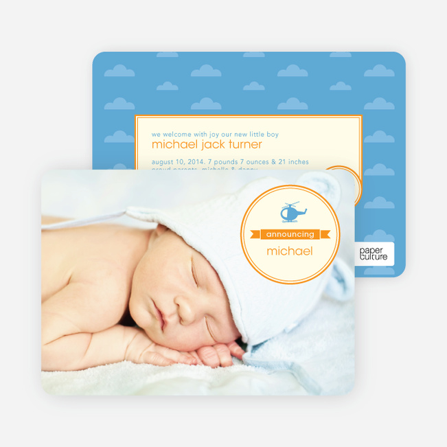 Helicopter Themed Birth Announcements - Orange