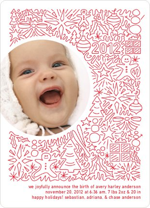 Holiday Baby Announcements: Spirit of the Holidays - White