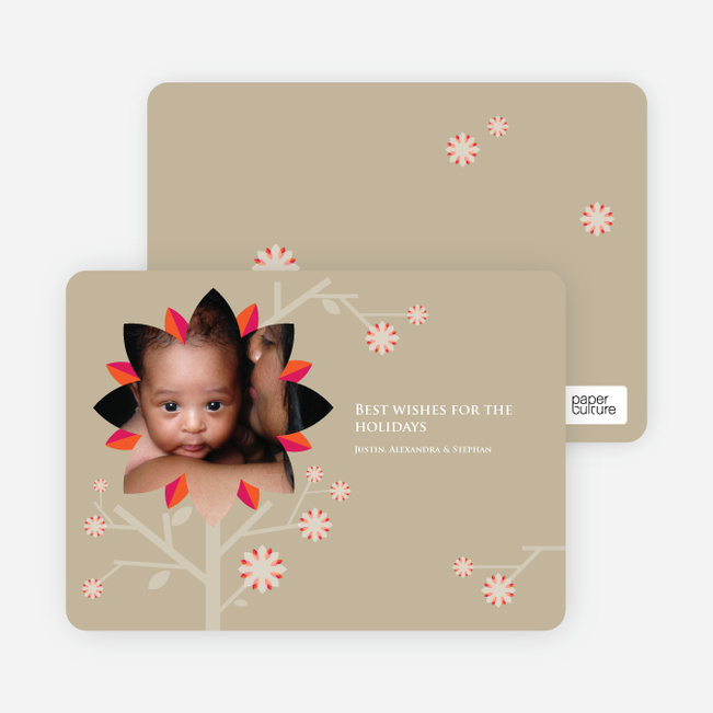 Holiday Cherry Blossom Tree Christmas Cards - Sand