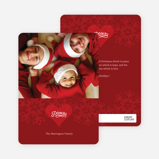 Modern Photo Holiday Cards: Peace - Raspberry Red