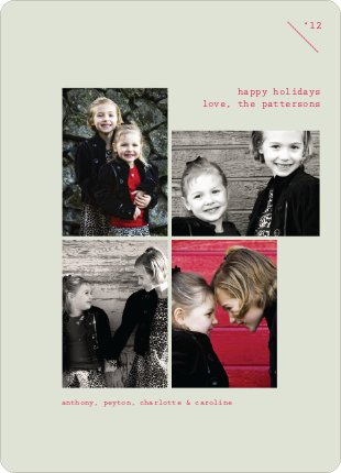 Holiday Photo Twist, 4 Photo Holiday Cards - Pale Sage