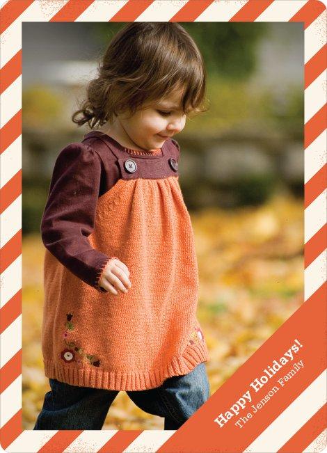 Holiday Stripes Holiday Photo Cards - Citrus Zing