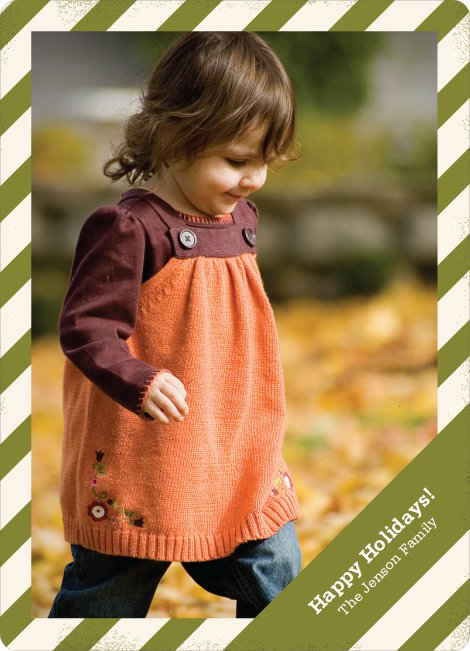 Holiday Stripes Holiday Photo Cards - Olive Green