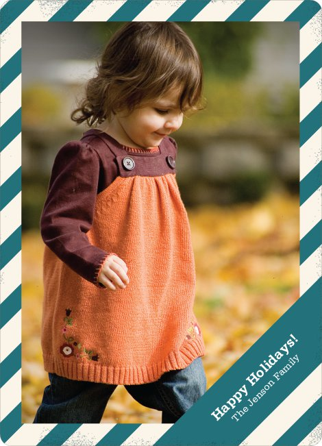 Holiday Stripes Holiday Photo Cards - Teal