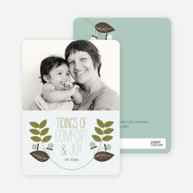 Holiday Cards: Holly Tidings - Olive Green