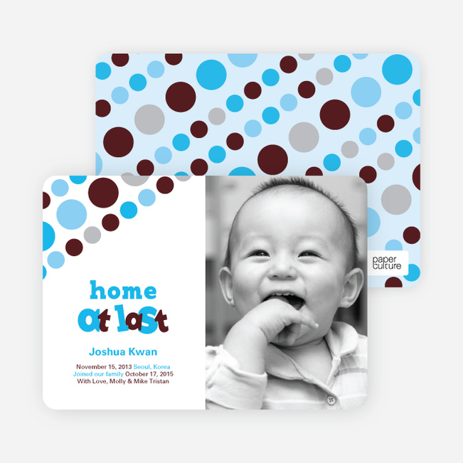 Home at Last Birth Announcements by giggle - Royal Blue