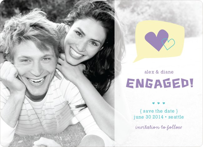 I Heart You Engagement Announcements - Lilac