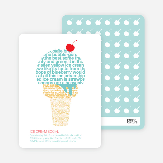 Ice Cream Social Summer Party Invitations – Ice Cream Party Invites