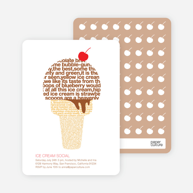 Ice Cream Social Summer Party Invitations - Bronze