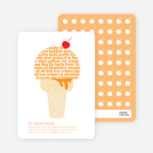 Ice Cream Social Summer Party Invitations - Pumpkin
