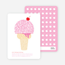 Ice Cream Social Summer Party Invitations - Carnation