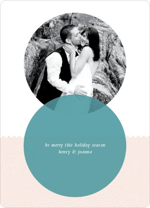 Interlocking Circles Holiday Photo Cards - Teal