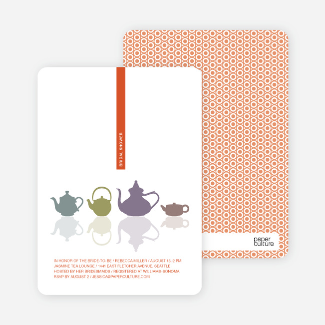 Invitations for Bridal Shower Tea - Tangerine Orange