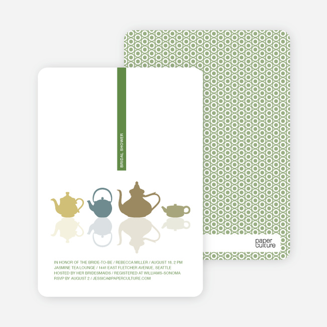 Invitations for Bridal Shower Tea - Fern Green