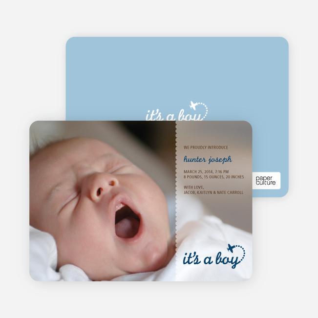 It's a Boy Photo Birth Announcements - Blue