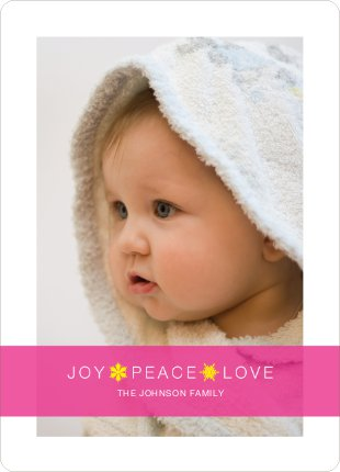 Joy * Peace * Love Holiday Cards - Shocking Pink