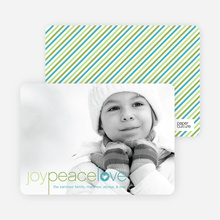Joy Peace Love Christmas and Holiday Cards - Apple Green