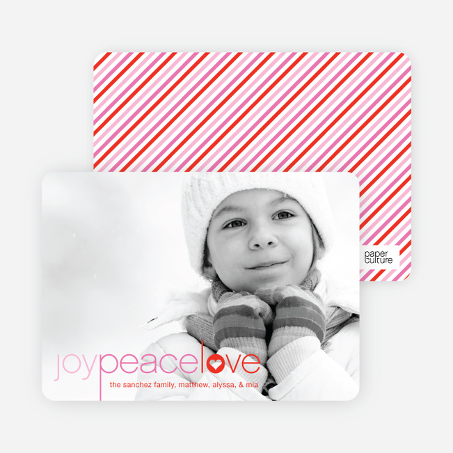 Joy Peace Love Christmas and Holiday Cards - Pink