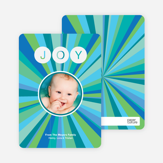 Joyful Outburst Holiday Photo Card - Cornflower