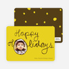 Kiddie Script Happy Holidays Photo Cards - Sun Gold