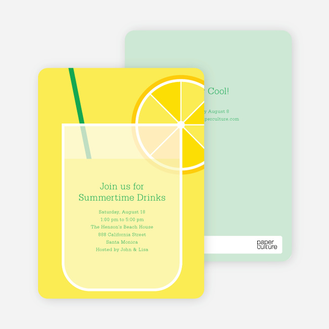 Lemonade Stand Party Invitations - Emerald Green