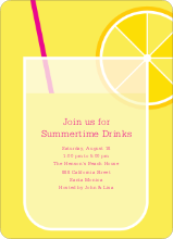 Lemonade Stand Party Invitations - Fuschia