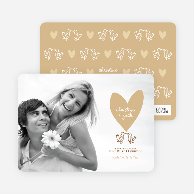Lovebird Inspired Save the Date Cards - Caramel