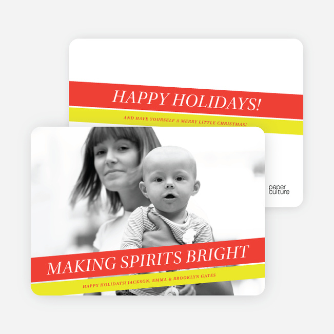 Making Spirits Bright Holiday Photo Cards - Tomato Red