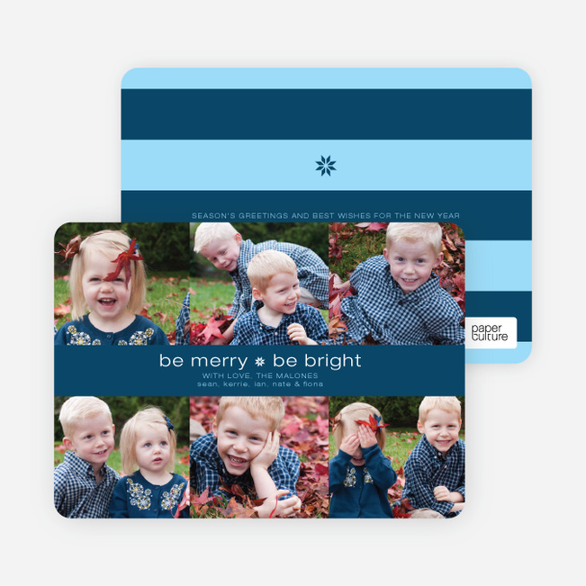 Merry and Bright Holiday Photo Cards - Blueberry
