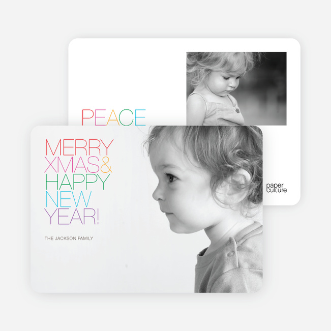 Merry Xmas + Happy New Year Photo Cards - Multi