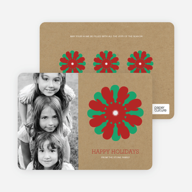 Mitten Snowflake Holiday Photo Card - Burgundy