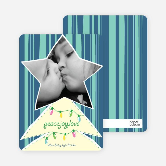 Modern Christmas Tree Photo Card - Cadet Blue