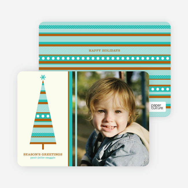 Modern Christmas Tree Photo Card - Wintergreen