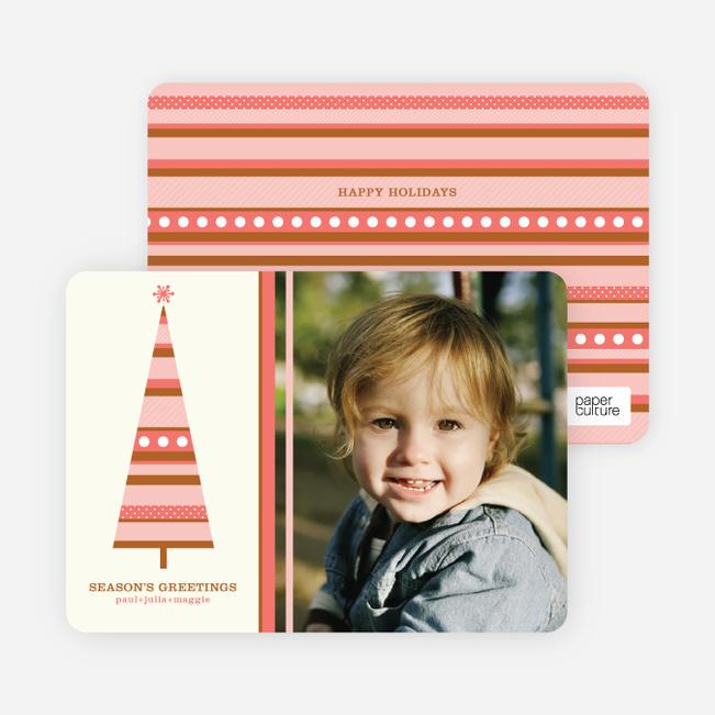 Modern Christmas Tree Photo Card - Coral