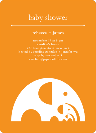 Modern Elephant Family Baby Announcement - Bright Orange