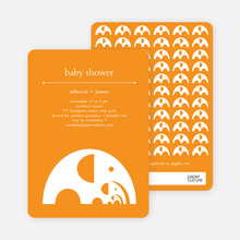 Elephant Family Baby Announcement - Bright Orange