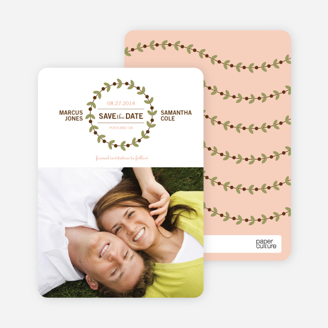 Modern Garland Eco Friendly Save the Date Photo Cards - Peach Sorbet