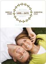 Modern Garland Eco Friendly Save the Date Photo Cards - Blue Bonnet